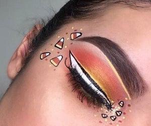 candy corn, colorful eyeshadow, and eyebrows image