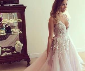 prom dress, v-neck, and wedding dress image