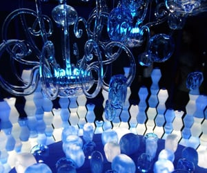 blue, chandelier, and glass image