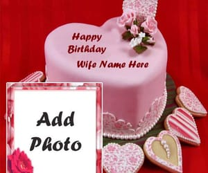 happy birthday cake, make your name, and name and photo image