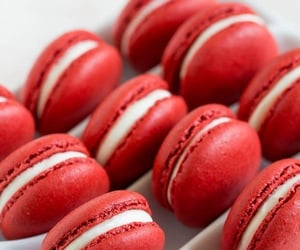food, red, and ‎macarons image
