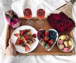 breakfast, flowers, and food image