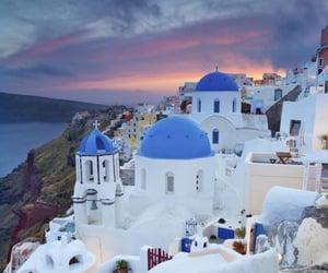 Greece, santorini, and sunset image