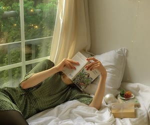 bed, aesthetic, and book image