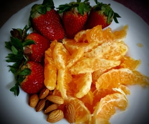 almonds, food, and strawberries image