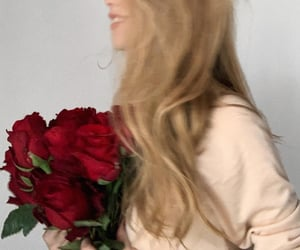 blonde girl, flowers, and hair image