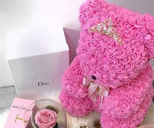bear, flower, and pink image