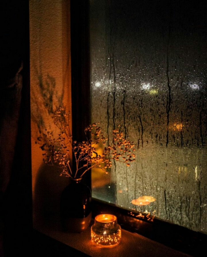 rain, window, and candle image