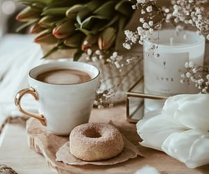 baby's breath, candles, and coffee image