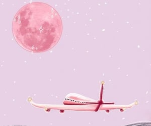 wallpaper, pink, and airplane image