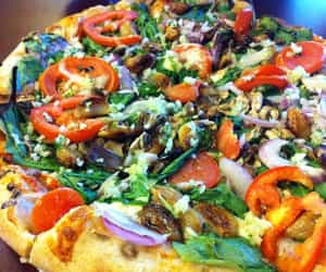food, pizza, and vegetables image