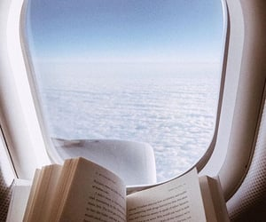 book, plane, and travel image