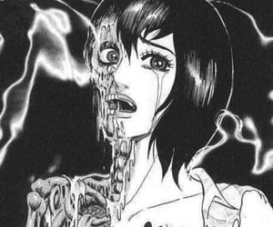 anime, gore, and anime black and white image