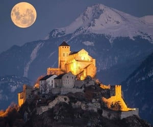 travel, castle, and moon image