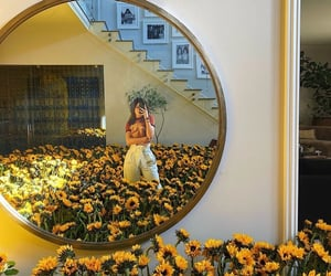 kylie jenner, flowers, and mirror image