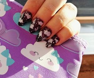 nail art, space nails, and almond nails image
