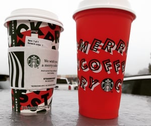 coffee, peppermint moacha, and starbucks image
