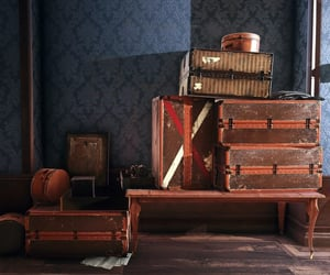 antique, baggage, and dishonored image