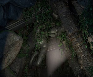abandoned, statue, and tunnel image