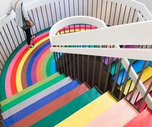 interior design, rainbow, and paint image