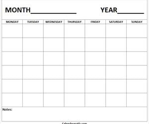 blank calendar, printable calendar, and calendar template image