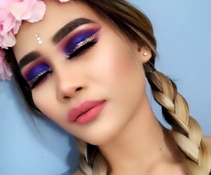 beauty, braids, and colorful eyeshadow image