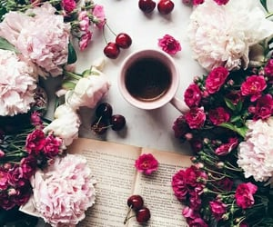 book, bouquet, and crimson image
