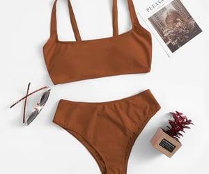 bikini, brown, and clothes image