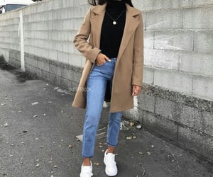 jeans, white shoes, and winter looks image
