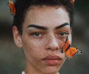 butterfly, beauty, and girl image
