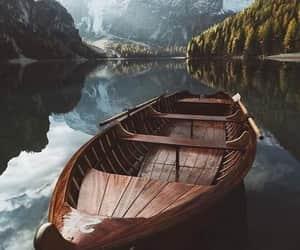 boat, lake, and landscape image
