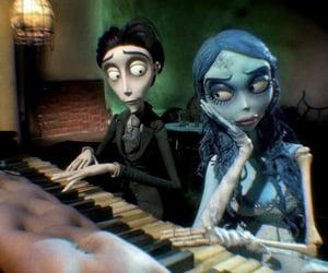 corpse bride, tim burton, and piano image