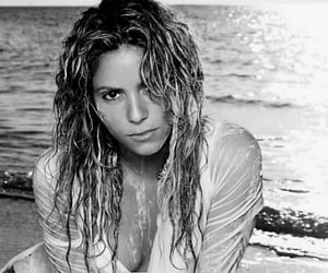 beach, shakira, and black and white image