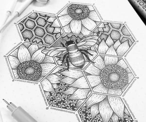 art, bee, and draw image