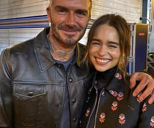 actress, emily clarke, and David Beckham image