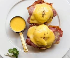 bacon, brunch, and poached eggs image