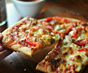 cheesy, delicious, and pizza image
