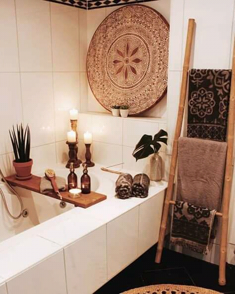 apartment therapy, bathroom, and boho image