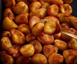 food, yummy, and roasted potatoes image