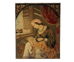 19th century, antique tapestry, and wool embroidery image