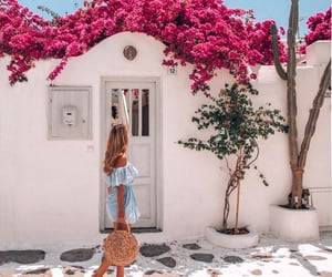 girl, santorini, and travel image