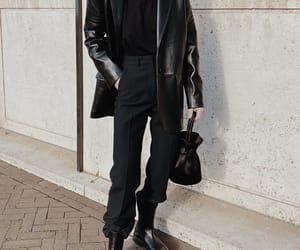 blogger, boots, and leather blazer image