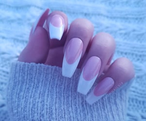 beauty, pink nails, and white nails image