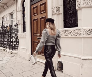 faux leather, trousers, and leather image