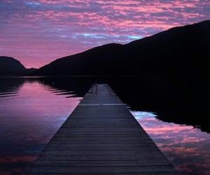 lake, purple, and whi image
