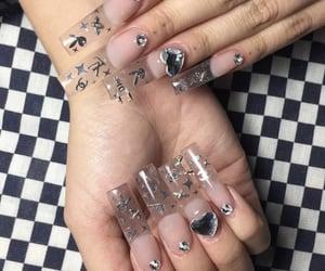 long nails, nails, and heart nails image