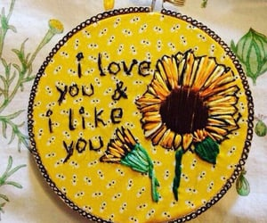 embroidery, sunflower, and lové image