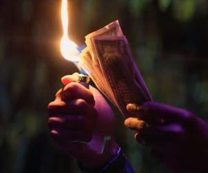 burning, fire, and money image
