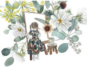 illustration, rosa, and grafolio image
