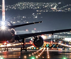 airplane, lights, and travel image